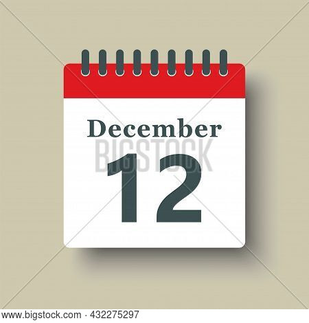 Icon Day Date 12 December, Template Calendar Page
