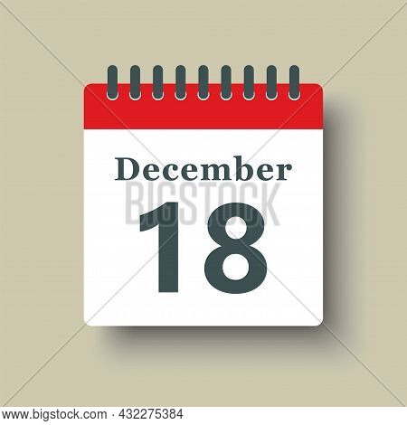 Icon Day Date 18 December, Template Calendar Page