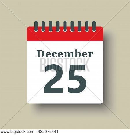 Icon Day Date 25 December, Template Calendar Page