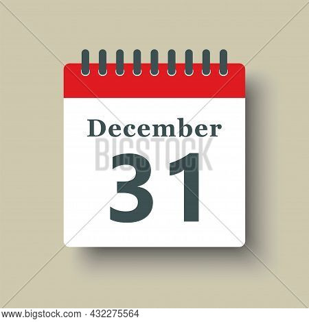 Icon Day Date 31 December, Template Calendar Page