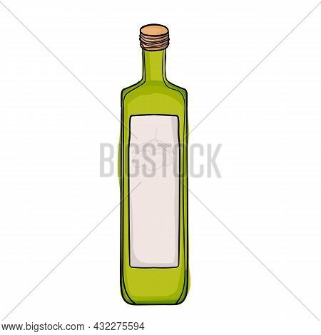Vector Illustration Bottle Of Olive Oil Using Shades Of Green And Strokes.