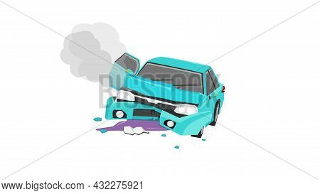 Cartoon Accident Picture Of A Passenger Car. Bonnet Was Opened And The Front Was Severely Damaged. W