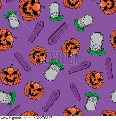 Vector Pattern Of Pumpkin, Coffins, Graves On A Purple Background With Outline.