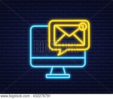Email Notification Concept. Neon Icon. New Email. E-mail Marketing. Notification Bell. Vector Illust