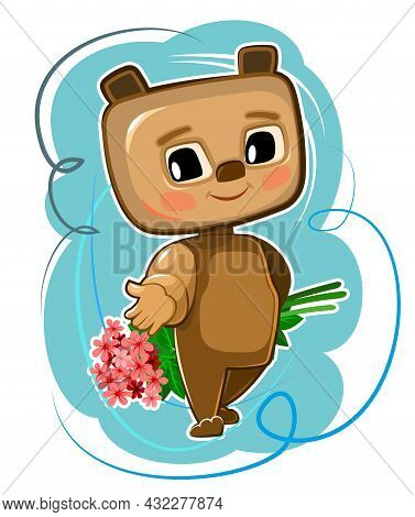 Cute Kid Bear Stretches Out His Hand Suggest Friendship. He Wants To Give A Bouquet Of Flowers. Funn