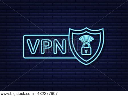 Secure Vpn Connection Concept. Virtual Private Network Connectivity Overview. Neon Icon. Vector Stoc