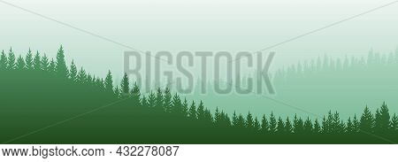Foggy Morning In Coniferous Forest. Silhouettes Of Trees. Wild Hilly Landscape. Pine, Cedar. Landsca