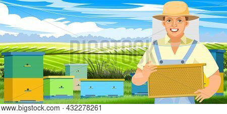 Beekeeper With Frame Of Honeycomb. Gardening Village Nature Landscape. Character In Uniform And Mesh