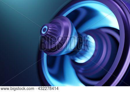 3d Rendering Future Engine Rocket Turbine Technology Under Blue And Purple Light.  Futuristic Part O