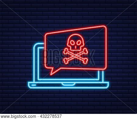 Cyber Attack. Data Phishing With Fishing Hook, Laptop, Internet Security. Neon Icon. Vector Stock Il