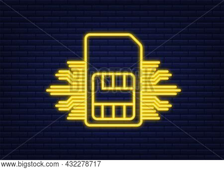 Mobile Cellular Phone Sim Card Chip. Neon Icon. Vector Stock Illustration.