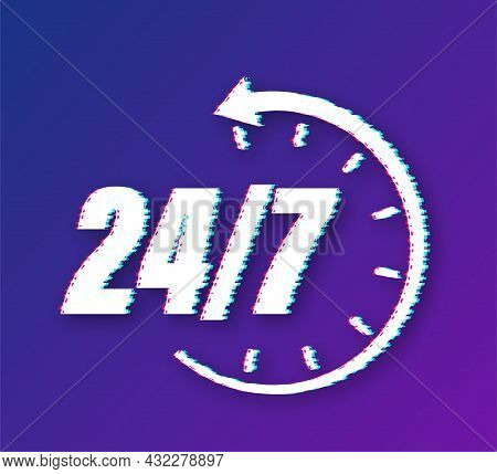 24-7 Service Concept. 24-7 Open. Support Service Glitch Icon. Vector Stock Illustration.