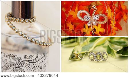 Collage Of A Diamond Tennis Bracelet, Sapphire Ring And Earrings And A Pendant