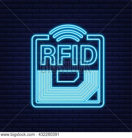 Rfid Radio Frequency Identification Neon Effect. Technology Concept. Digital Technology. Vector Illu