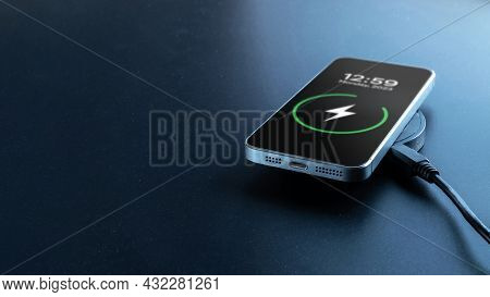Wireless Charger. Mobile Cell Phone Charge Battery From Wireless Smart Charger. Modern Technology Co