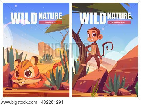 Wild Nature Cartoon Posters. Funny Monkey And Tiger Cub In African Desert Natural Landscape. Ape And