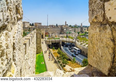 Jerusalem, Israel - August 30, 2021: View From The Old City Walls, With Visitors, Jaffa Gate, Tower