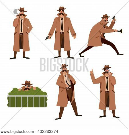 Set Of Private Investigator Cartoon Vector Illustration. Detective Character With Mustache.in Brown