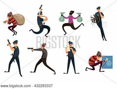 Set Of Criminal And Policeman On White Background. Cartoon Vector Illustration. Funny Burglar Guy An