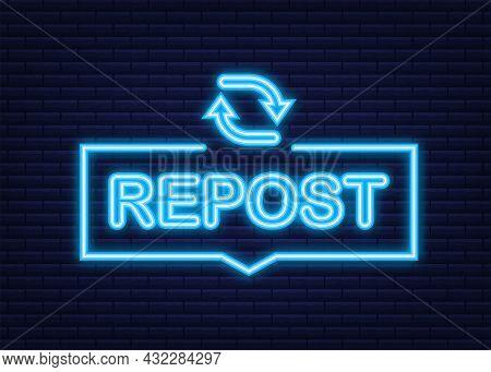 Repost Icon. Repost Label. Social Media. Vector Stock Illustration.