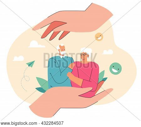Elderly Man And Woman In Caring Hands. Flat Vector Illustration. Tiny Happy Couple Of Senior People