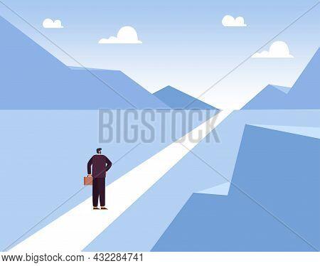 Flat Vector Illustration Of Businessman Walking Forward Towards Goal. Man Standing In Long Way Of Op