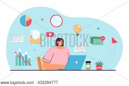 Young Manager Working Online Flat Vector Illustration. Female Expert Conducting Distance Content Ana
