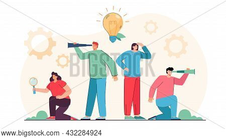 Young Creative People Looking For New Ideas And Projects. Flat Vector Illustration. Men, Women With