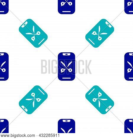Blue Barber Online Service Or Platform Icon Isolated Seamless Pattern On White Background. Idea Of H