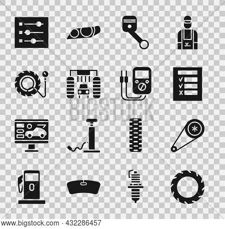 Set Car Tire Wheel, Timing Belt Kit, Inspection, Engine Piston, Wash, Tire Pressure Gauge, Settings