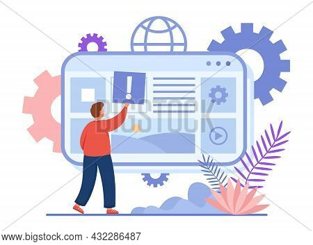 Content Creator Cartoon Character Adding Information Online. Man Publishing Post On Website, Making