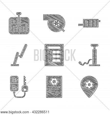 Set Car Inspection, Auto Service Check Automotive, Location With Car, Air Pump, Key Remote, Windscre