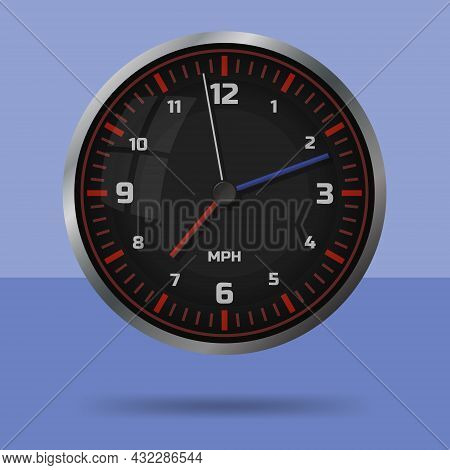 Car Speedometer Style Black Wall Clock. Isolated Monochromatic Background. Vector Illustration