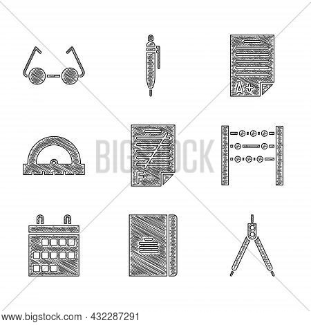 Set Exam Paper With Incorrect Answers, Spiral Notebook, Drawing Compass, Abacus, Calendar, Protracto