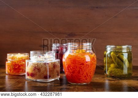 Fermented, Probiotic Food. Canned Vegetables. Pickles, Sauerkraut And Other Organic Preserves In Mas