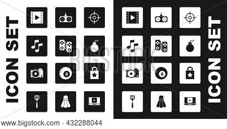 Set Target Sport, Gamepad, Music Note, Tone, Play Video, Bomb Ready Explode, Paper Shopping Bag And