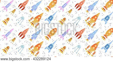 Seamless Pattern With Cartoon Contour Space Ships And Ufo Flying Diagonal Up. Outline Universe Ships