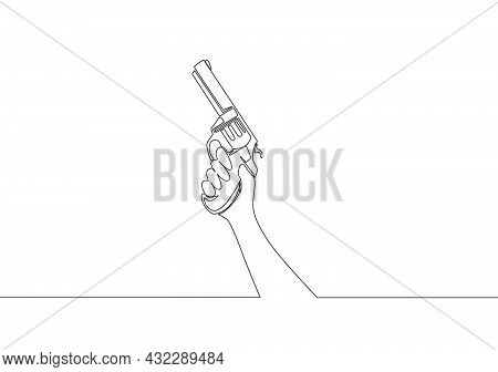 Single Continuous Line Drawing Of Man Holding Revolver Hand Gun. Defense Weapon Concept. One Line Dr