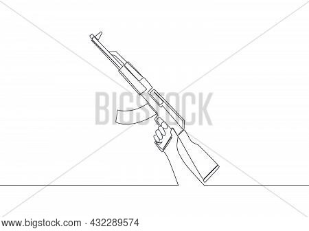 Single Continuous Line Drawing Of Man Holding Military Assault Rifle Gun. Defense Weapon Concept. On