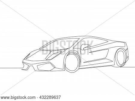 Continuous Line Drawing Of Racing And Drifting Elegant Sedan Sport Car. Luxury Super Car Transportat