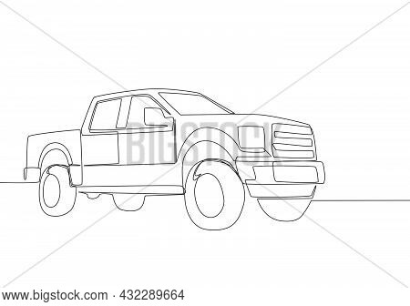 Continuous Line Drawing Of Luxury Tough Pickup Car. Cargo Carrier Vehicle Transportation Concept. On
