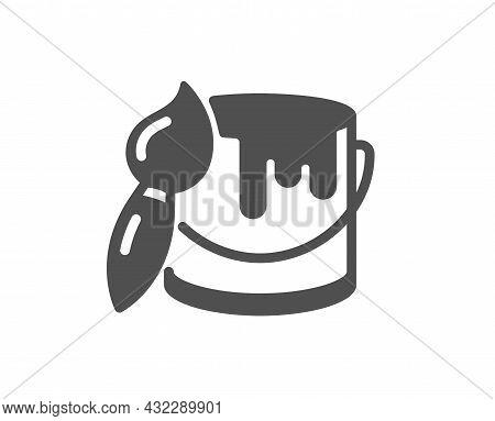 Paint Brush Icon. Wall Paintbrush Sign. Tin Of Acrylic Paint Symbol. Classic Flat Style. Quality Des