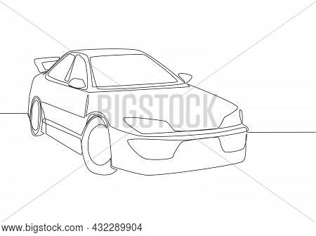 One Line Drawing Of Sporty Sedan Car. Stylish And Trendy Vehicle Transportation Concept. Single Cont