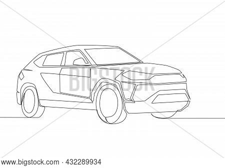 One Line Drawing Of Tough Big Suv Car. Family Comfortable And Safe Vehicle Transportation Concept. S
