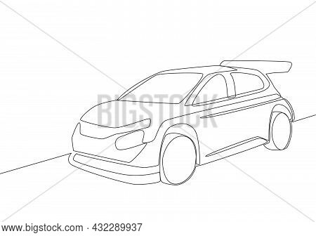 One Line Drawing Of Rally And Drifting Sporty Sedan Car. Vehicle Transportation Concept. Single Cont