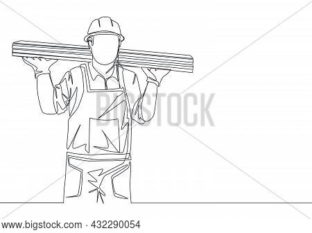 One Continuous Line Drawing Of Young Lumberjack Wearing Uniform, Helmet And Glove While Carrying Woo