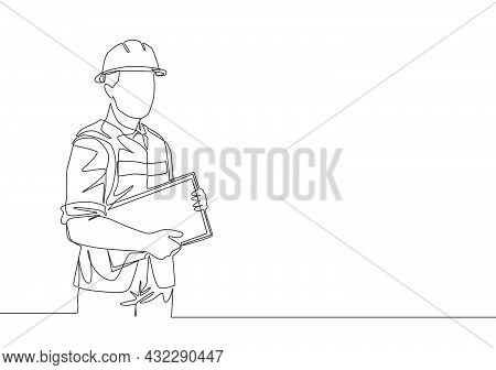 Single Continuous Line Drawing Of Young Attractive Foreman Controlling Building Development Progress