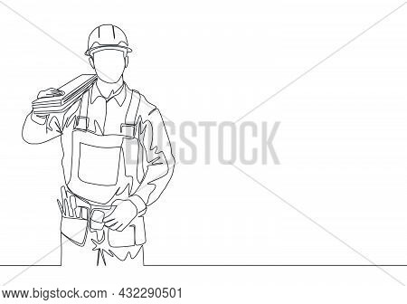 Single Continuous Line Drawing Of Young Handsome Lumberjack On Uniform Carrying Stack Of Wooden Boar