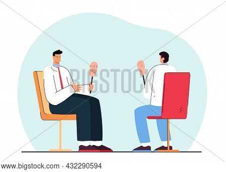 Men With Masks Sitting Opposite Each Other. Flat Vector Illustration. People Hiding Their Faces, Rev