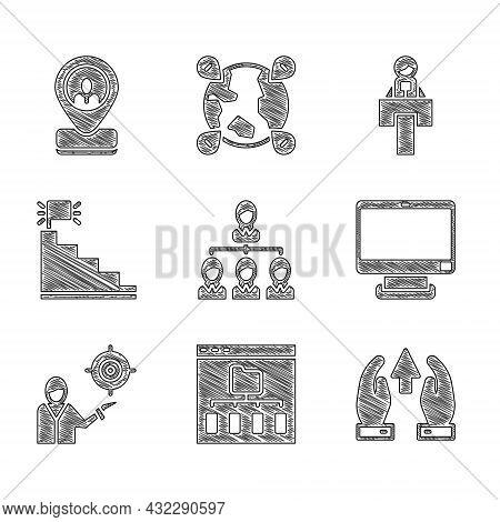 Set Hierarchy Organogram Chart, Browser Files, Growth And Progress, Computer Monitor, Marketing Targ